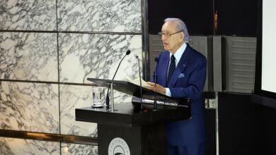 Le président de BMCE Bank of Africa, Othman Benjelloun, présen